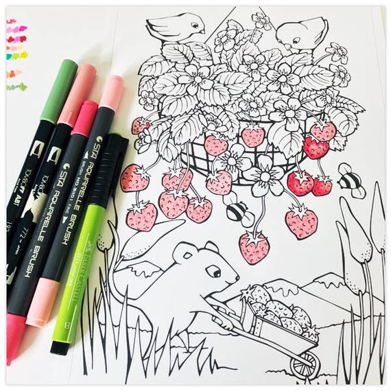 Printable Sweet Strawberry Picker Colouring Page