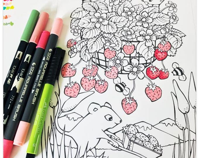 Featured listing image: Printable Sweet Strawberry Picker Colouring Page