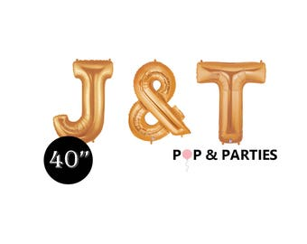 """SHIPS FAST - Giant Gold Letter Balloons, 40"""" Gold Balloons, Giant Balloons, Gold Wedding Decorations, Engagement - Any Letters"""