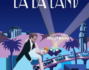 La La Land Original Art Movie Poster Illustration Vector Giclee Print