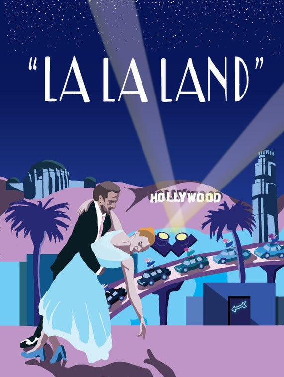 La La Land Original Art Movie Poster Illustration Vector