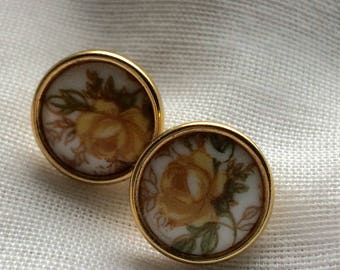 Small Yellow Roses Post Earrings