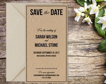Save the Date, Classic Wedding, Rustic Wedding, Country Wedding, Save the Date Template, Save the Date Card, Save-the-date