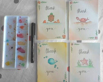 Handmade Ocean Theme Stationary Cards - Individual or Set