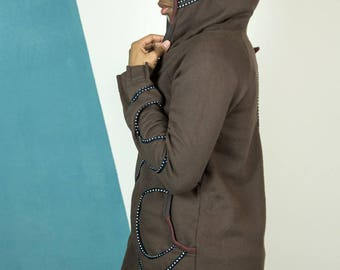 Sweatshirt woman ... handmade with love ... Brown Sweatshirt hoodies. cotone100% ... Hooded Sweatshirt ... unique piece. Mamumble.