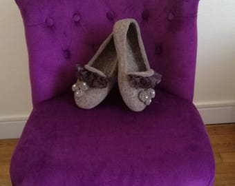 "Slippers style """" Shabby Chic - coffee with milk ' """