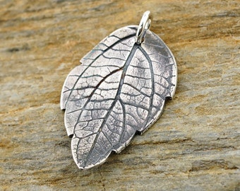 Spirea leaf pendant, organic style precious metal clay jewelry, gift for nature lover, Irina Miech