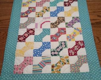 "Feed Sack Bowtie quilt, 28""x21"""