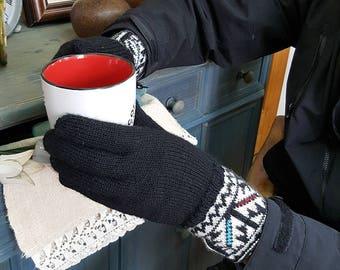 Cold Weather Hand Knit Woolen Gloves Women Winter Gloves Jacquard Pattern Gloves Knit Fair Trade Gloves Winter Set Gloves Hat Collar Gift