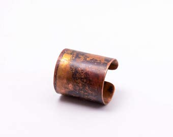 Copper cuff ring, tube ring, patina boho ring, oxidized copper, unique, unique, Adjustable ring, size adjustable