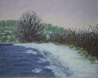 "Original pastel painting, ""Silence."""