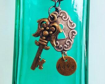 Key & Lock with hope pendant