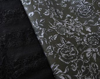 Cotton flowers of floral flowers blooming patchwork grey black fabric