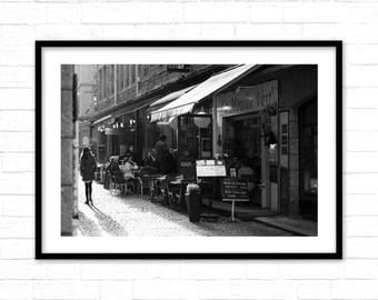 Wall Art Print,Urban Photography,Black and White City Scene,a cafe, a morning, to print a digital download, a large poster.