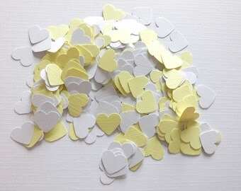 Handmade yellow and white heart shaped confetti in a high quality card 300 pieces