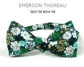 Green Gold Teal Floral Bow Tie/Self Tie Flower Print Freestyle Adjustable Boys Mens Extra Long Cotton Butterfly Blue White Black Teal Bowtie