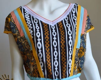 Bogolan Crop Top - African wax print