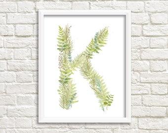 printable initials/ letterK / personalised letter art/ letter monogram/ printable K/ wall art/ watercolour letter/ hand lettering/ nursery