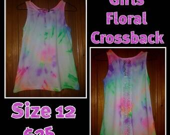Girls Neon Floralback Tank