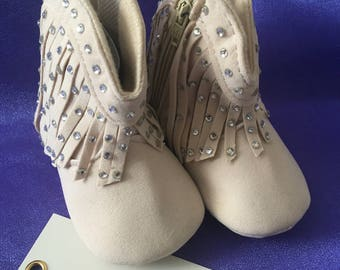 ON SALE ..Bling baby crib booties/shoes, bespoke, romany, pre-walker