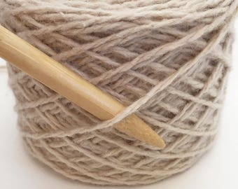 Recycled Rayon/ Cotton/ Lambswool/ Angora Worsted Weight Cream Light Tan Yarn
