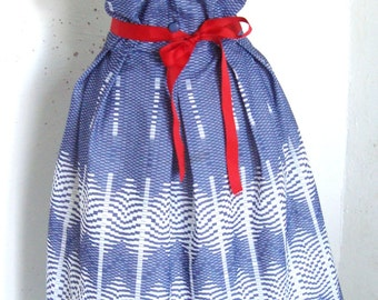 Vintage 60s does 50s Mad Men Pin UP Tea Dress blue and white chevron UK M