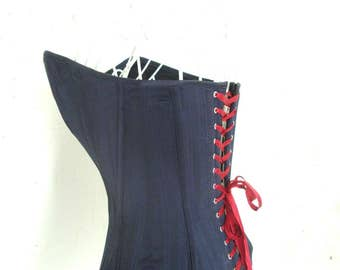 Custom hand made corset boned basque top One off Vintage Victorian Burlesque Goth Steampunk Black S M adjusted