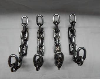 Welded Chain Wall / Coat Hook Set of 4 Handmade Home Decor