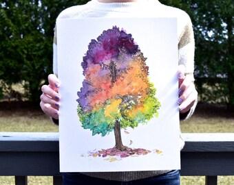 Autumn Beauty Tree - Watercolor Art Print
