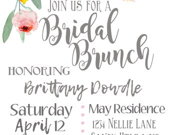 Personalized Bridal Shower invitation, custom shower invitation, floral shower inviation