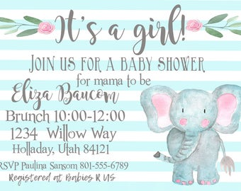 Baby shower invitation, personalized invitation, baby elephant invitation, digital download