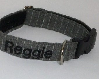 Personalised Dog Collar 'Reggie' Fashion Bespoke adjustable Light Grey Pinstripe optional personalisation. FREE UK delivery