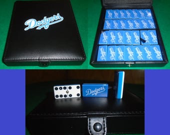 Los Angeles Dodgers Dominoes Game Set Double Six Domino Leather Baseball Man Cave
