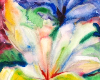 Seperate flowers Iris painting Abstract flower art Abstract watercolor wall art Abstract picture Blue white abstract art PaintingOnlineStore