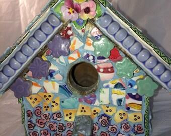 "Mosaic Birdhouse ""Home Tweet Home"""