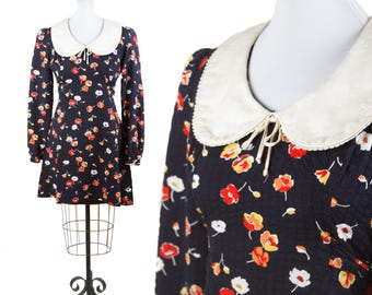 1970s Dress // Babydoll Peter Pan Collar Black Background 30s Inspired Floral Puff Sleeve Mini Dress