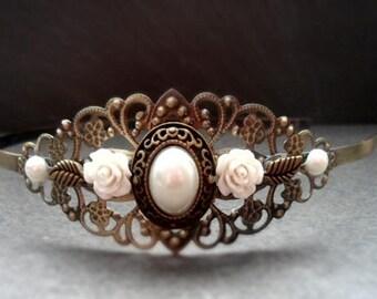 decorated headband, vintage style, headbands, Cabochon, flower, hair jewelry, wedding, Festival, communion