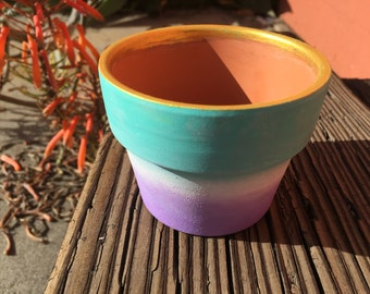 Mint to Lavender Ombre Pot with Shiny Gold Rim