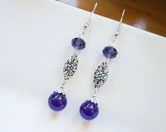 Purple Amethyst & Glass Earrings