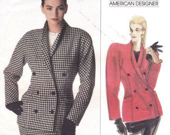 Vogue Pattern 2156 Calvin Klein Double Breasted Jacket Lapels Size 10