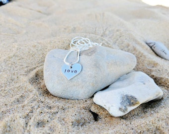 Love necklace heart shaped hand stamped