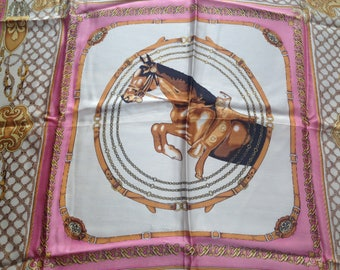 100% Silk - Small Pink Equestrian Scarf - Vintage - 21 inches x 20 inches