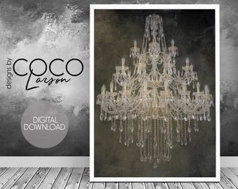 Chandelier Wall Art, Beautiful Poster, Modern Decor, Minimalist Wall Art,  Living Room