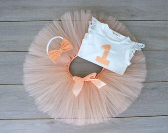 3 Piece Peach & White OOAK Tutu First Birthday Set - Cake Smash Outfit