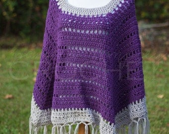CROCHET PDF PATTERN: Boho Poncho with Fringe crochet wrap