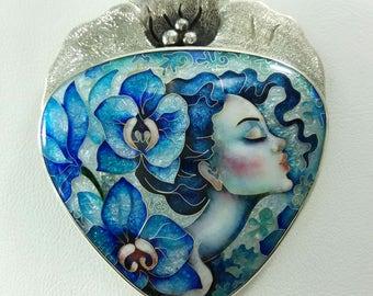 Blue Orchid.  Necklaces. Pendant-brooch.  Cloisonne enamel. Sterling silver