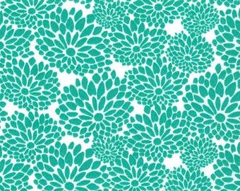 Pool Green Floral- curtains, throw pillows, roman shades