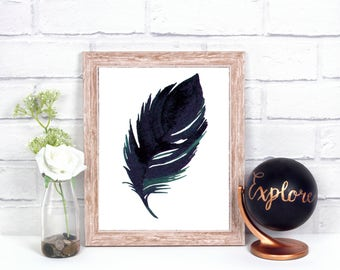 Watercolor Feather digital print, Wall art, desk art