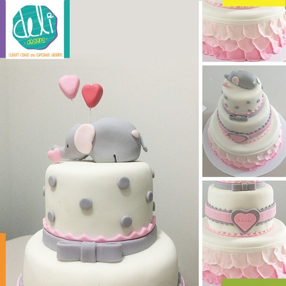 Edible Elephant Cake Decorations : Edible Fondant Baby Elephant Cake Topper