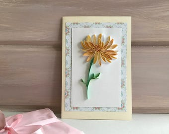 Quilling Floral Card - Card for her - Card for wife - Quilling Paper Art - 3D Handmade Card - Quilled flowers card - Quilling  Chrysanthemum